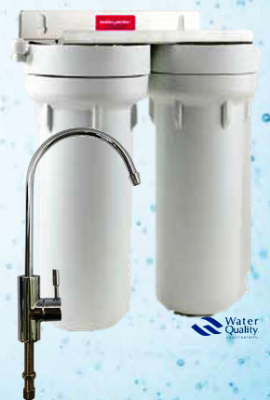 A typical under-sink filtration system.